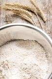 Mixing wheat flour in metallic bowl Stock Images
