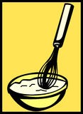 Mixing whisk and bowl baking utensils. Vector. Illustration of a mixing whisk and bowl cooking and baking utensils. Vector file available in EPS format Royalty Free Stock Photos