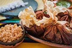 Mixiotes food in mexico, Mexican beef or lamb wrap spicy. Comida mexicana royalty free stock image