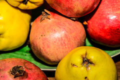 Mixt fuits cydonia pomegranate. Mixt fuits on a table and a bowl Stock Photography
