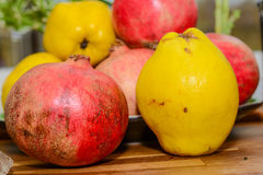 Mixt fuits cydonia pomegranate. Mixt fuits on a table and a bowl Royalty Free Stock Photos
