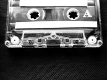 Mixtape cassette in black and white. A mixtape alternatively mix-tape or mix tape is a compilation of music, typically from multiple sources, recorded onto a royalty free stock photo