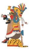 Mixtec-Krieger im Goldkleid und Leopard enthäuten Kopfschmuck Gesetzt auf der Tigerhautplattform, das Angebot halten Lizenzfreies Stockfoto