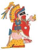 Mixtec-Krieger im roten Kleid und in mit Federn versehenem Kopfschmuck Gesetzt auf der Leopardhautplattform, das Angebot halten Lizenzfreies Stockbild