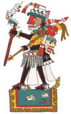 Mixtec warrior with black skin and skulls headdress. Standing on platform, holding spear with ocelot. Stock Photos