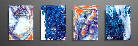 Mixture of acrylic paints. Liquid marble texture. Fluid art. Applicable for design cover, presentation, invitation. Flyer, annual report, poster and business stock illustration