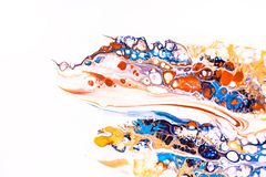 Mixture of acrylic paints. Modern artwork with spots and splashes of color paint. Liquid marble texture. Applicable for design. Packaging, labels, business royalty free stock photography