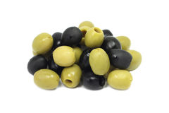 A mixture of black and green olives Royalty Free Stock Photos