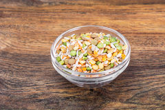 Mixture of cereals, peas, lentils, rice, barley Stock Photos