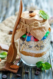 Mixture for cooking cookies in a glass jar. Stock Images