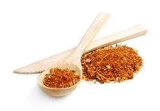 A mixture of different spices with dried onion and carrot Stock Photos