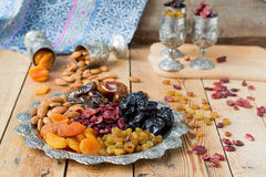 A mixture of dried fruits and nuts Stock Photo