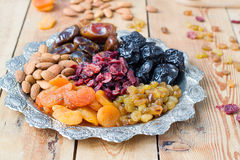 A mixture of dried fruits and nuts. A mixture of dried fruits Stock Photography