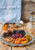 A mixture of dried fruits and nuts. A mixture of dried fruits Stock Photo