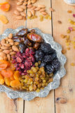 A mixture of dried fruits and nuts Stock Photos