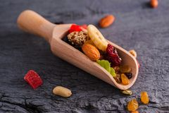 A mixture of dried fruits. Dried fruits and nuts.A mixture of dried fruits, candied fruits stock images