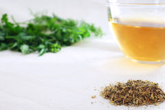 Mixture of dried herbs  with herbal tea and green herbal leaf Royalty Free Stock Photography