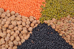 Mixture of dried lentils and beans Stock Photo
