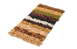 Mixture of dried lentils, peas, soybeans, beans Royalty Free Stock Photos