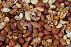 A mixture of dried nuts Stock Images