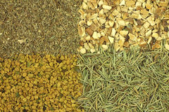 A mixture of dried spices and seasonings  background Royalty Free Stock Photos