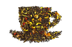 Mixture of dry tea in a cup Royalty Free Stock Image