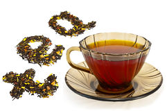 Mixture of dry tea from a cup Stock Photo