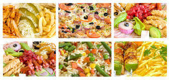 Mixture of foods. Mixture of six different foods Stock Photo