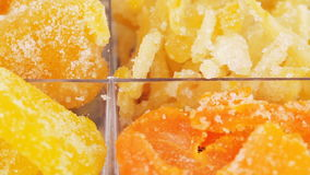 Mixture of four candied fruits stock video