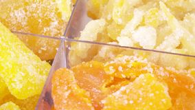 Mixture of four candied fruits stock footage
