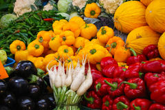 Mixture of fresh fruits and vegetables, market in Tangier (Morocco). A display of nature fresh fruits and vegetables at the market in Tangier (Morocco Royalty Free Stock Photos