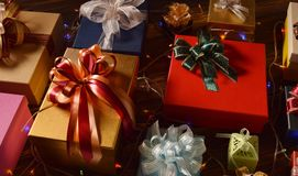 Mixture of gift boxes Royalty Free Stock Photography