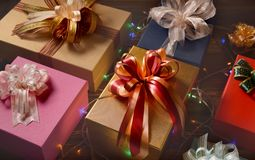 Mixture of gift boxes Royalty Free Stock Photos