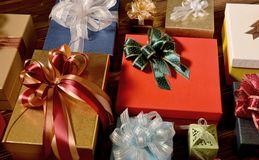 Mixture of gift boxes Royalty Free Stock Images