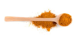 Mixture of Indian Spices and Herbs Powders Isolated stock photo