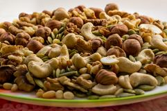 Mixture of nuts on a plate. Walnut, cashew, cedar nut, hazelnut, pumpkin seed royalty free stock photo
