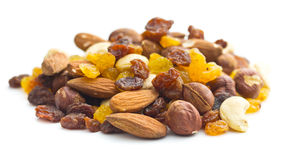 Mixture of nuts and raisins Royalty Free Stock Photography