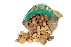 Mixture of nuts in a sack Royalty Free Stock Photo