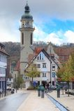 A mixture of old buildings and modern statues in Ebingen Germany Stock Photos
