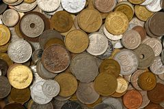 Mixture of old foreign coins Royalty Free Stock Photography