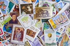 Mixture of old stamps. From various countries Stock Photo