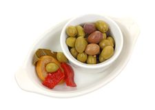 Mixture Olives and Garnish Stock Photography
