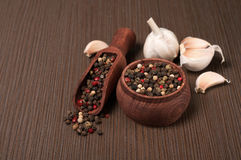 Mixture of peppers (black, red, white) and garlic Royalty Free Stock Image