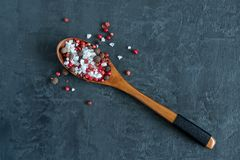 Mixture of peppers and a major white where sea salt in a wooden spoon. Dark background Copy space royalty free stock photos