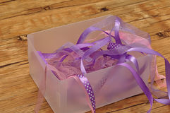 A mixture of purple ribbons stock photos