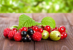 A mixture of ripe berries on a wooden table. Summer Still Life. Raspberries, gooseberries, currants close-up. Royalty Free Stock Photos