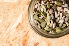 Mixture of seeds, healthy raw food for cooking Royalty Free Stock Images