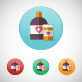 Mixture solution bottles vector icon set. Mixture solution bottles. Healthcare. Digital background medical vector icon set isolated on colorful round buttons Stock Photos