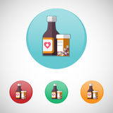 Mixture solution bottles vector icon set. Stock Images