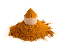 Mixture of Indian Spices and Herbs Powders Isolated royalty free stock image